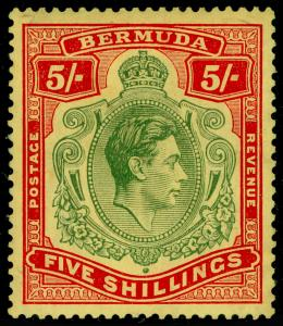 BERMUDA SG118d, 5s bluish green & carmine-red/pale yellow, M MINT. Cat £100.