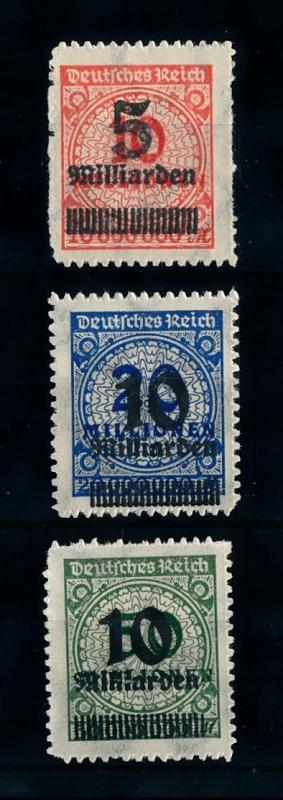 [70455] Germany Reich 1923 INFLA OVP Rouletted Mi.332A-337A Set of 3 MNH OG