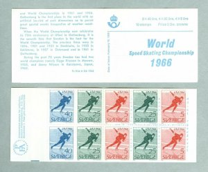 Sweden. Booklet Mnh. English. Speed Skating Championship 1966. Engrav: Cz.Slania