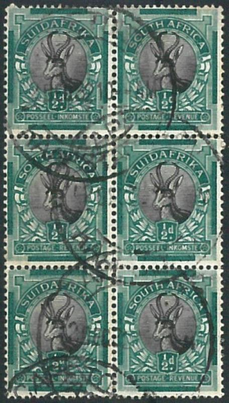 70555 - SOUTH AFRICA - STAMPS -  Stanley Gibbons # 54 block of 6 - USED