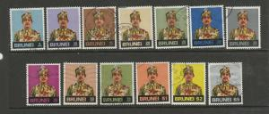 Brunei 1975/8 Defs, CA Diagonal 13 vals of the 16 ( set ) Used as shown SG Betwe