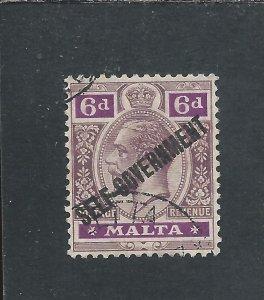 MALTA 1922 6d DULL & BRIGHT PURPLE SELF GOVERNMENT FU SG 119 CAT £60