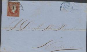 O) 1855 CUBA-CARIBE, FRONT COVER, SPANISH COLONIES, ISABEL W