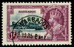 BARBADOS SG244, Silver Jubilee 1s slate & purple, VERY FINE USED, CDS. Cat £35.