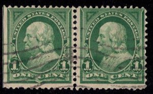 US Sc 279 Used Dark Ylw Green Vert. Pair Natural Straight Edge R F-VF