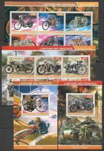 PE 2015 DJIBOUTI TRANSPORT HISTORY MOTORCYCLES !!! 2BL+2KB MNH