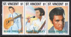 St. Vincent MNH Strip 1767A Elvis Presley