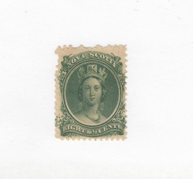 NOVA SCOTIA # 11 MH 81/2cts QUEEN VICTORIA GREEN CAT VALUE $16