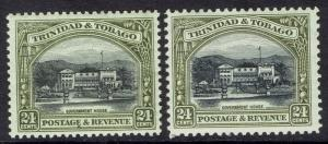 TRINIDAD & TOBAGO 1935 GOVERNMENT HOUSE 24C PERF 12 AND PERF 12.5