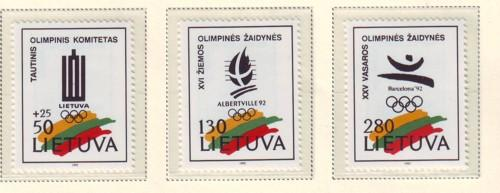 Lithuania Sc 422-4 1992 Olympics stamp set mint NH