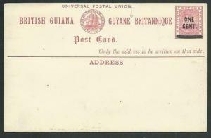 BR GUIANA QV ONE CENT on 3c ship type postcard fine unused.................61478