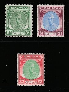 Kelantan x 3 better cv items MNH from the 1951 set