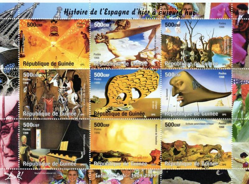 Guinea 1998 Salvador Dali Paintings Sheetlet (9) Perforated MNH Michel# 1822/0