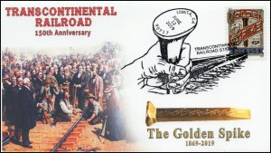 19-232, 2019, Trans Continental Railroad, Pictorial Postmark, Event, Golden Spik