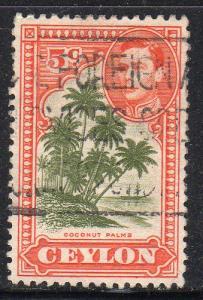 Ceylon 292 - Used - Coconut Palms / George VI (cv $0.35) (1)
