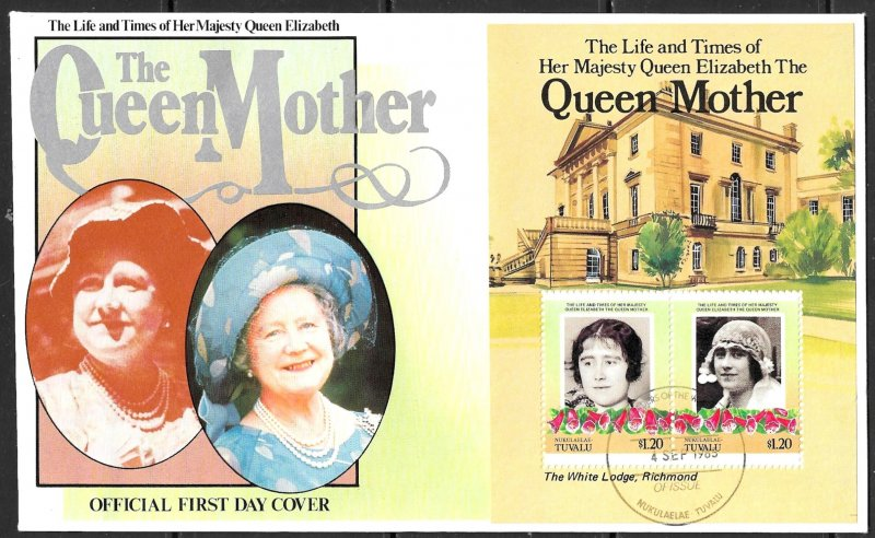 TUVALU NUKULAELAE 1985 Queen Mother's 85th Birthday Souvenir Sheet Sc 51 FDC