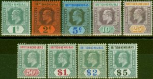 British Honduras 1904-07 set of 9 SG84a-93 Fine Mtd Mint