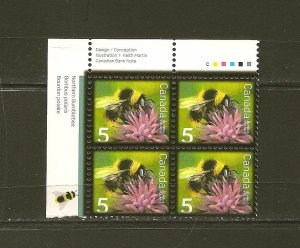 Canada Insects Bumble Bee 5 Cent Issue Inscription Corner Block of 4 MNH