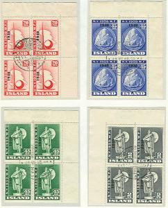ICELAND #232-5 (256-9), Complete set Worlds Fair w/1940 Ovpt, Corner Margin USED