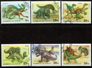 Azerbaijan 446-451 Used/CTO (1994) Dinosaurs - Prehistoric Animals