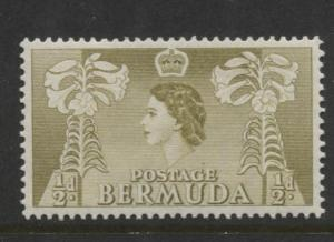 Bermuda - Scott 143- QEII-Definative-1953 - MVLH - Single 1/2d Stamp