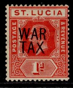 ST. LUCIA GV SG89, 1d scarlet, M MINT. Cat £15.