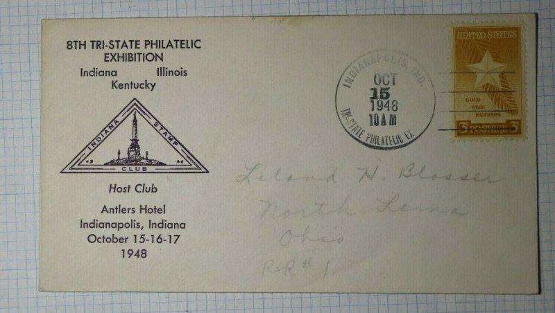Tri State Philatelic Exhibit Indianapolis IN Philatelic Convention Cachet 1948
