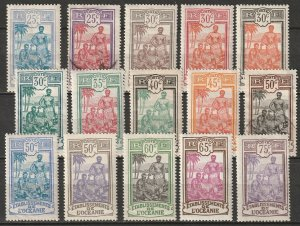 French Polynesia 1913-27 Sc 33-47 set mid values MH*/used some disturbed gum