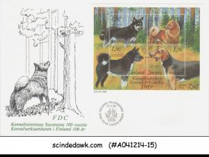 FINLAND - 1989 DOGS OF FINLAND - MINIATURE SHEET - FDC