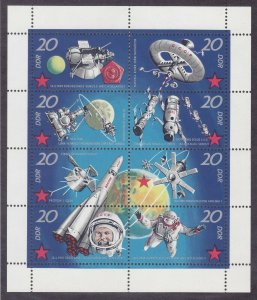 Germany DDR 1269a MNH 1971 Soviet Space Research Mini Sheet of 8 Very Fine