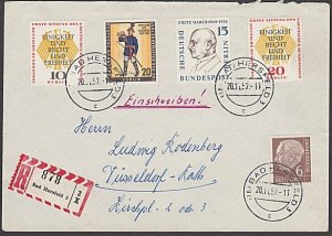 GERMANY 1957 Registered cover - nice franking...............................B317