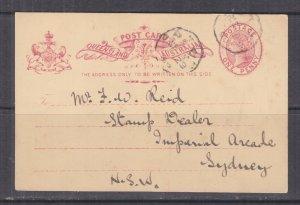 QUEENSLAND, Postal Card, 1898 1d., Octagonal cancel to F.W. Reid, Stamp Dealer.