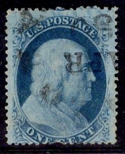 US Stamp #24 1c Franklin Type V USED SCV $37.50