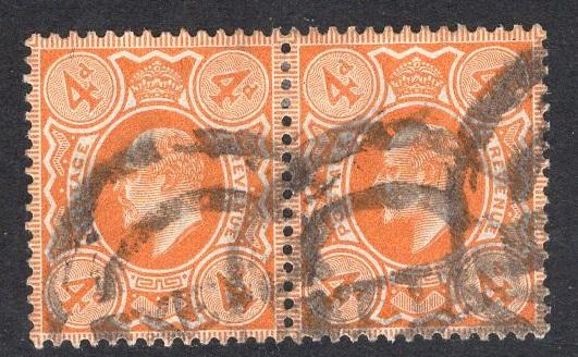 Great Britain  #144  1902  used Edward VII  4d orange   pair