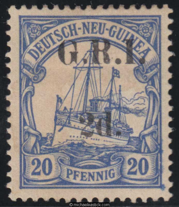 1914 New Guinea 2d on 20pf, overprint. Value 6mm apart. ' SG 4, MH toned