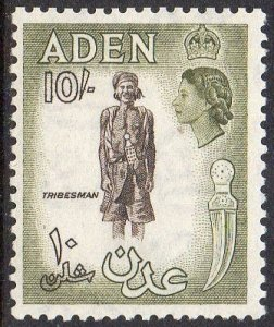 Aden 195310/- sepia and olive MH