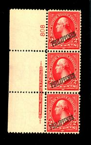 Philippines #214 MINT Plate strip of 3 F-VF OG LH