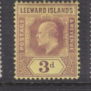 LEEWARD ISLANDS, 1910 KEVII Mult. CA 3d. Purple on Yellow, lhm.
