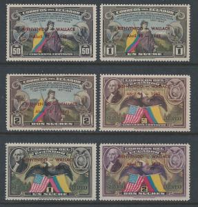 Ecuador #413-15+C102-4 NH U.S. Constitution Issue Ovptd. For Wallace Visit