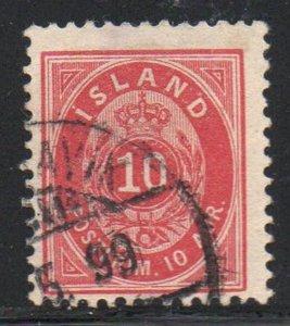 Iceland  Sc 26 1897 10 aur carmine stamp used