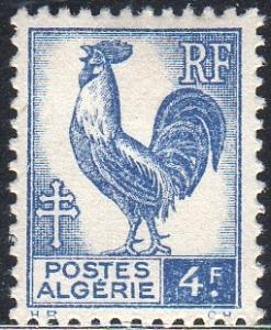 Algeria 184 - Mint-H - 4fr Gallic Cock (Rooster) (1945) (cv $0.30) (1)
