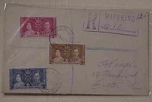 BECHUANALAND 1937 DEC 31 REGISTERED MAFEKING COVER TO ENGLAND