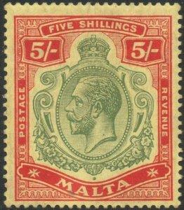 MALTA-1917 5/- Green & Red/Yellow Sg 88 toned perf lower left LMM V46465