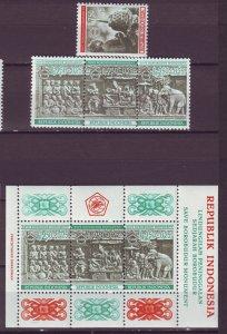 J25136 JLstamps 1968 indonesia set + s/s mnh #b211-4,b213a budda and temple