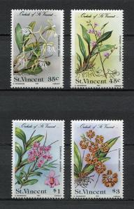 St. Vincent MNH 803-6 Orchids Flowers 1985