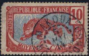 CONGO - 1914 - CAD MAKOUA / MOYEN CONGO SUR N°52 10c CARMIN & BLEU