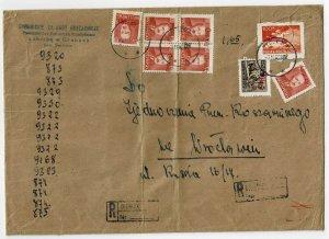 Poland 1950 Groszy overprints on internal registered cover
