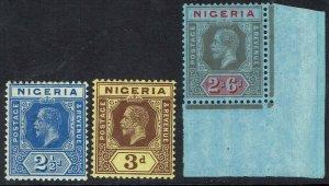 NIGERIA 1914 KGV 21/2D 3D AND 2/6 WMK MULTI CROWN CA