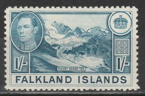 FALKLAND ISLANDS 1938 KGVI MOUNT SUGAR TOP 1/-