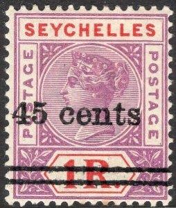SEYCHELLES-1902 45c on 1r Bright Mauve & Deep Red Sg 44 LMM V50066